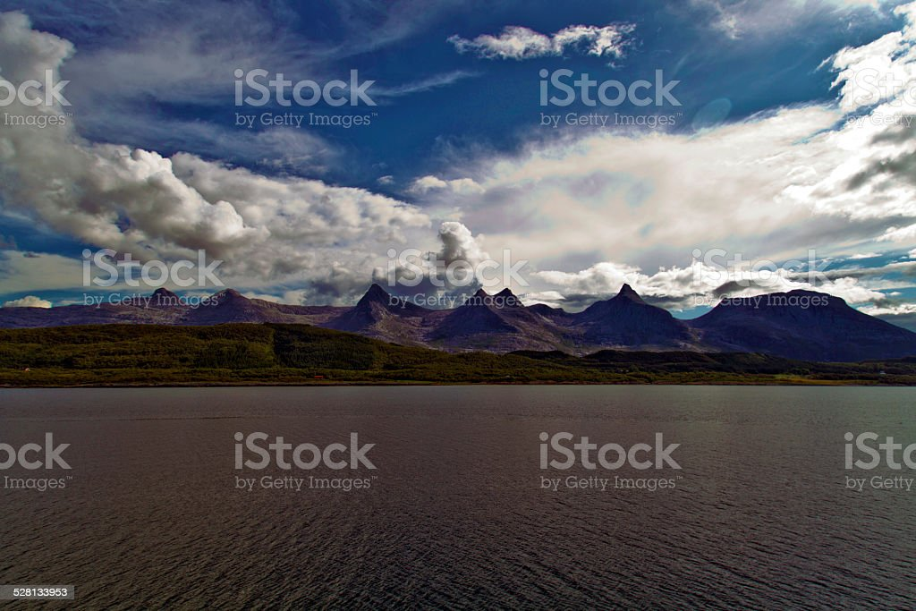 The Seven Sister smountain range near Nesna, Norway stock photo
