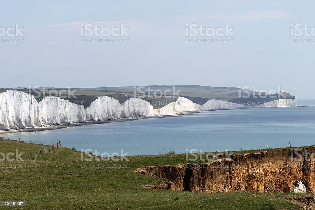 The Seven Sisters Cliffs. East Sussex. England stock photo