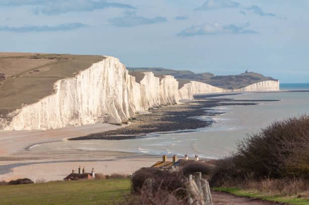 the seven sisters cliffs in late winter sunlight - english channel stock pictures, royalty-free photos & images