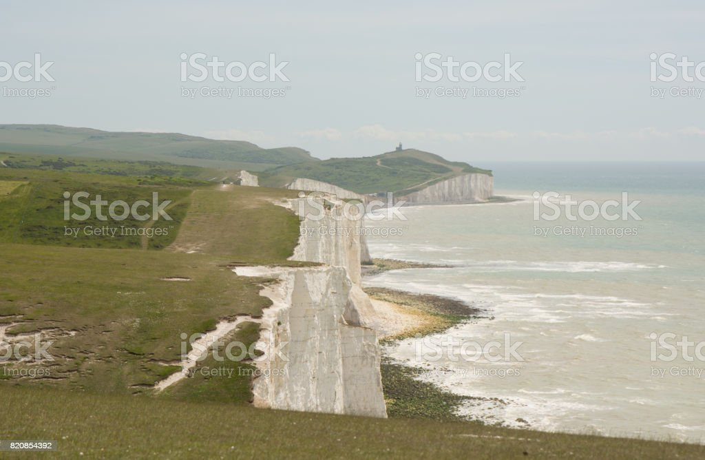The Seven Sisters Cliffs near Eastbourne, Sussex, England stock photo