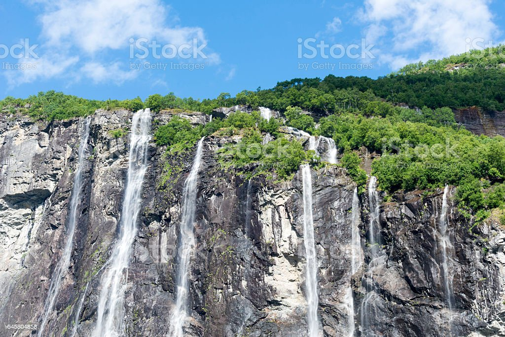 The seven sisters waterfall stock photo