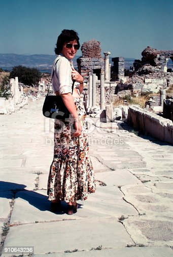 Turkey, June 1974.  A young woman at aTemple near by Ephesus