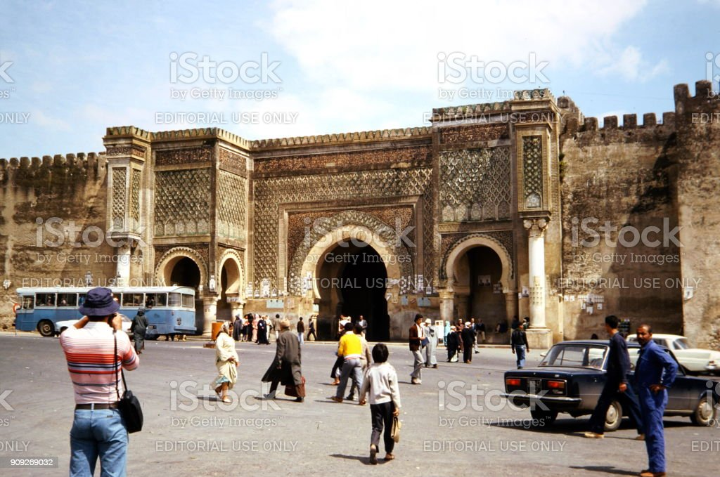 The Seventies. Bab Mansour in Meknes, Morocco stock photo
