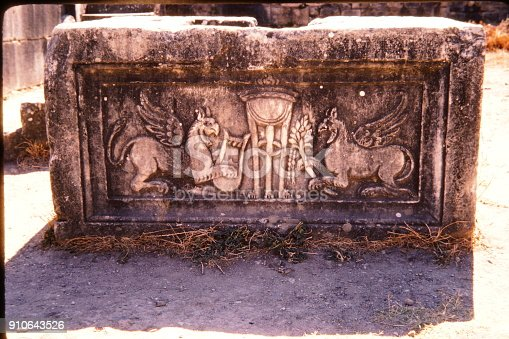 Turkey, June 1974.  Griffin relief at the Temple of Apollo in antique city of Didyma.