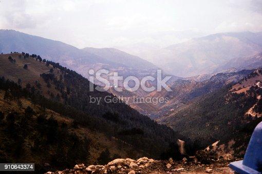 Turkey, June 1974. Panoramic view over the Anatolian mountain.