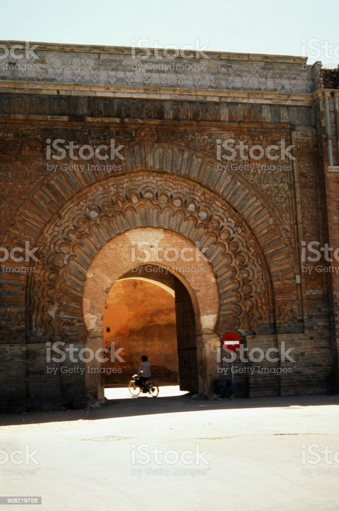The Seventies. The front of Bab Agnaou. Marrakech, Morocco. stock photo