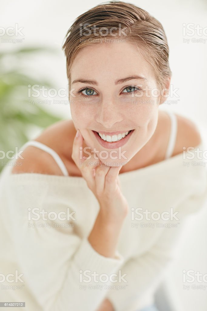 The sexiest curve on your body is your smile stock photo