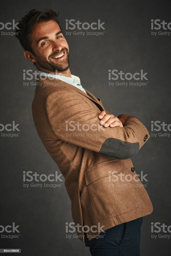 The sexiest man has a beard and smile stock photo