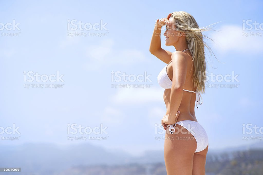 The sexiest shark spotter! stock photo