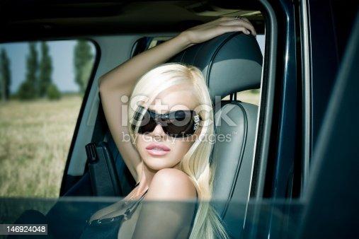 The sexual blonde in underwear in car salon