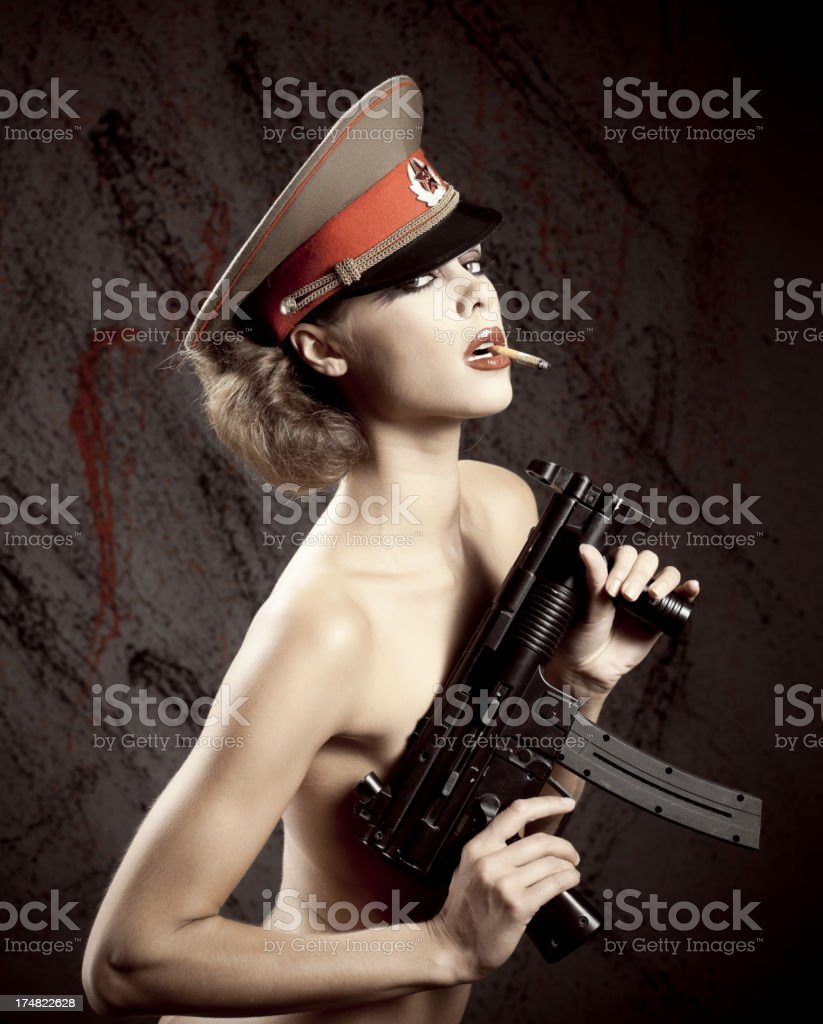 The sexy warior woman. royalty-free stock photo
