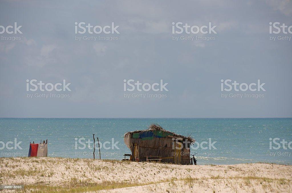 The shack of Brazilian fisherman on the beach near Fortaleza royalty-free stock photo