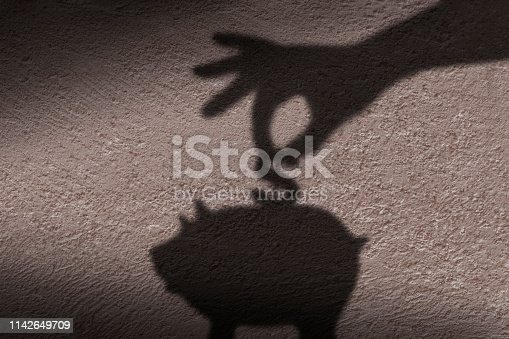 The shadow of hand putting a coin into piggy bank.
