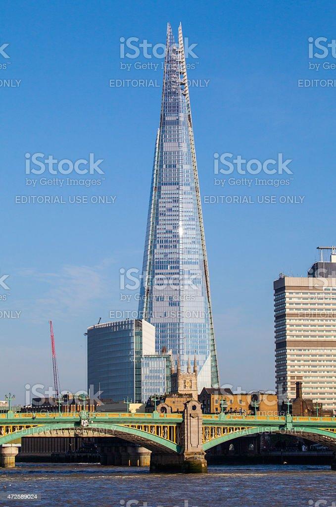 The Shard and Southwark Bridge in London stock photo
