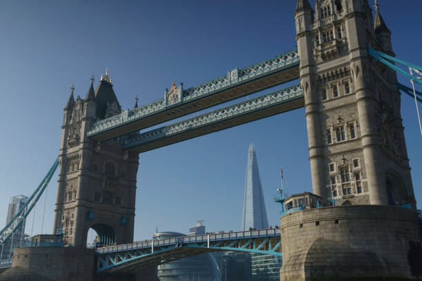 the Shard Framed by Tower Bridge stock photo