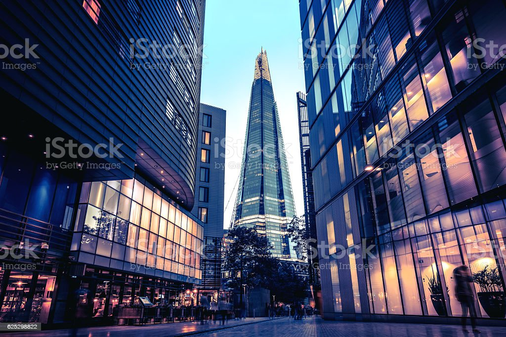 The Shard in Central London at dusk stock photo