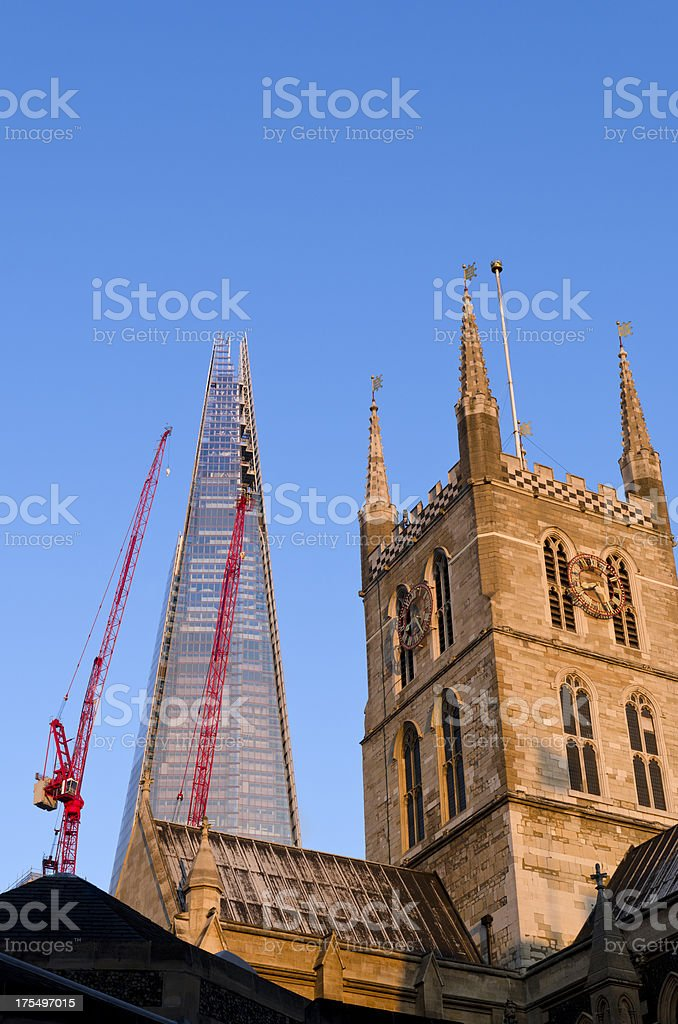 The Shard skyscraper and Southwark Cathedral, London stock photo