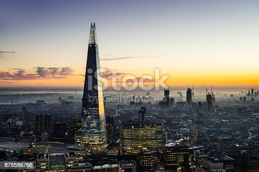The Shard skyscraper in London. The tallest skyscraper in Europe with the height of 310 m, designed by architect Renzo Piano.