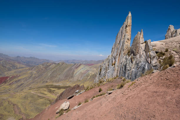 The sharp rocks of the Stone Forest on Palccoyo Mountain near the Rainbow Mountains stock photo