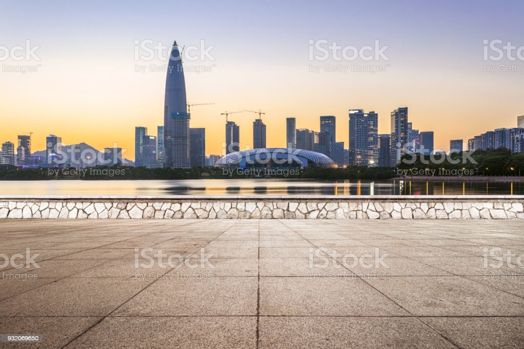 The Shenzhen Bay and the outdoor square stock photo