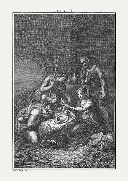 the shepherds at the crib (luke 2), published c. 1850 - acquaforte foto e immagini stock