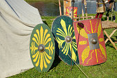 The shield of the Roman soldier.It's a defense against enemy weapons.
