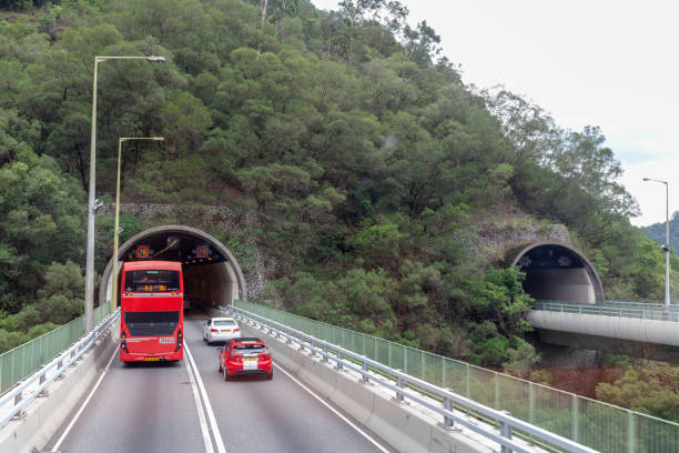 The Shing Mun Tunnels are connecting the new towns of Tsuen Wan  and Sha Tin in the New Territories.the tunnels opened on 20 April 1990 pass through the base of Needle Hill. Hong Kong- June 9, 2018:The Shing Mun Tunnels are connecting the new towns of Tsuen Wan  and Sha Tin in the New Territories.the tunnels opened on 20 April 1990 pass through the base of Needle Hill. sha tin stock pictures, royalty-free photos & images