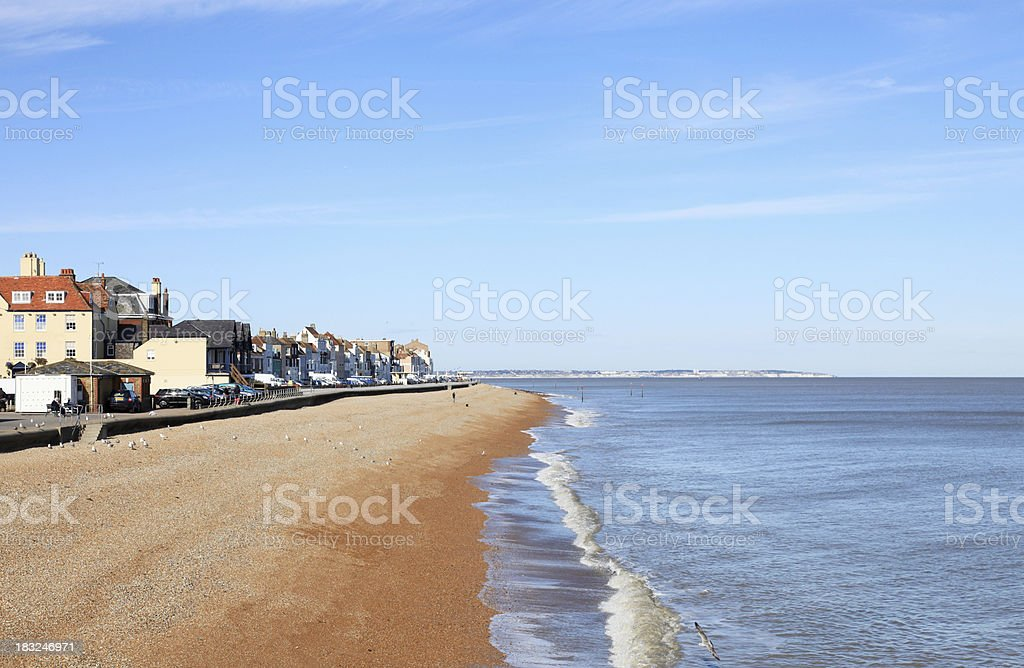 The shingle beach and seafront at Deal, Kent, UK stock photo