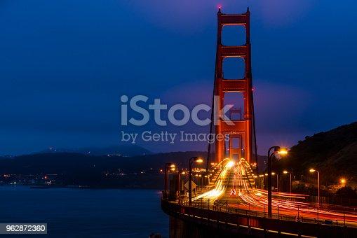 the Shining Crown of San Francisco , California Golden Gate Bridge at night