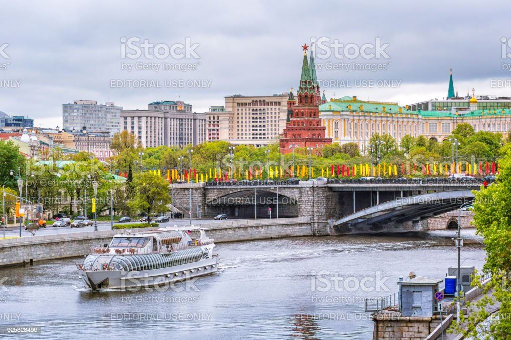 The ship on the background of the Moscow Kremlin cloudy day stock photo