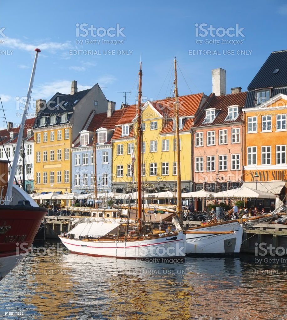 The ships moored at the pier in Nyhavn, Copenhagen. stock photo