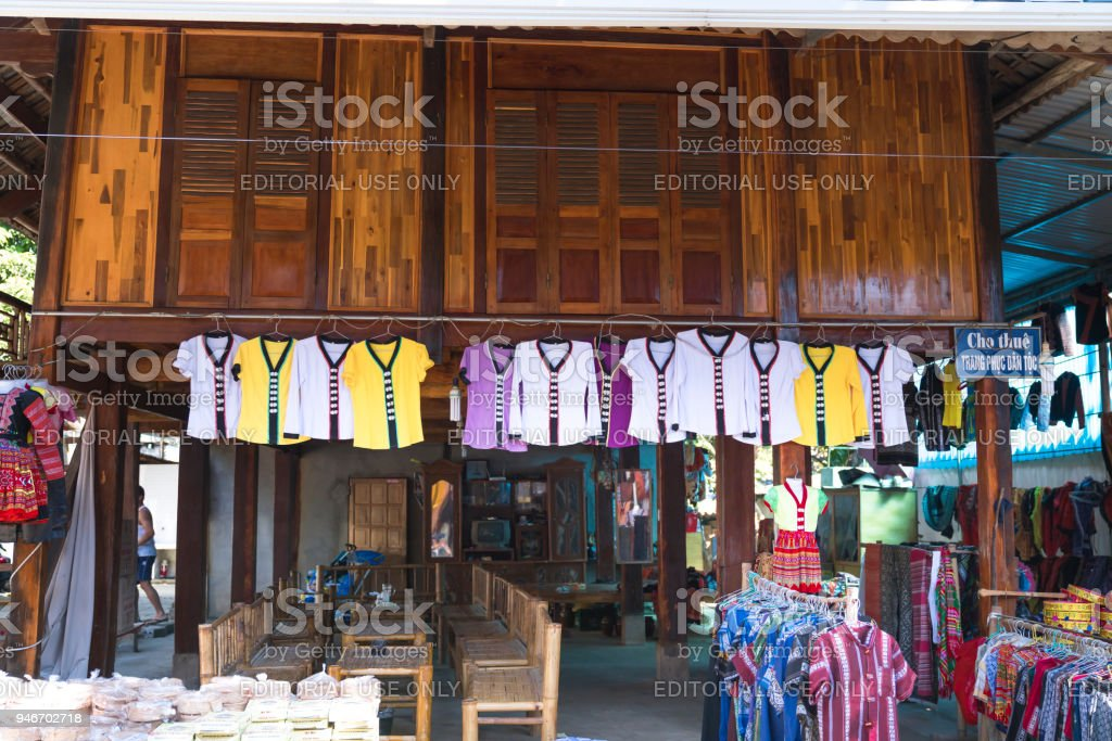 The shop selling handmade fabrics, skirts and brocade weaving made by Thai ethnic minority people stock photo