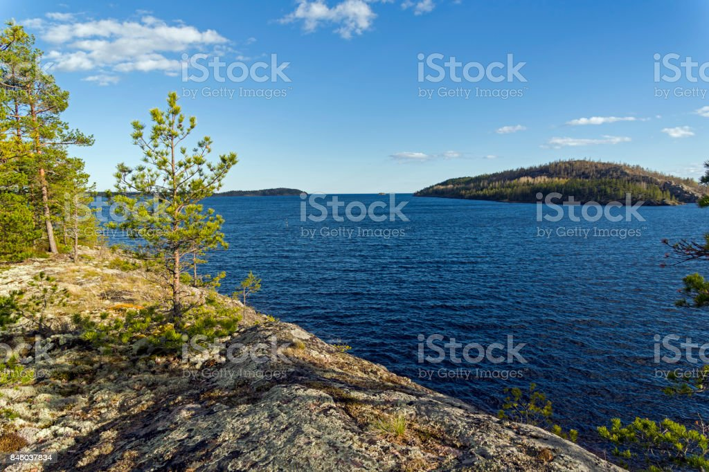 The shore of Lake Ladoga. stock photo