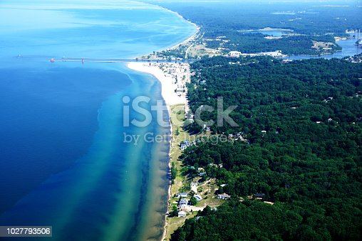 177362898istockphoto The Shore of Lake Michigan from a Bird's Eye View 1027793506