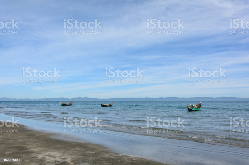 The shore of the Saint Martin's Island, Cox's Bazar, Bangladesh stock photo