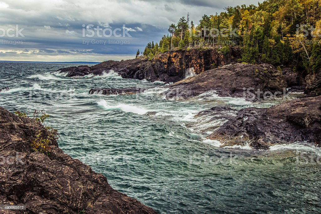 The Shores Of Lake Superior In Marquette Michigan. stock photo
