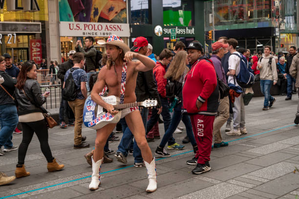 the showman Naked Cowboy in New York City stock photo