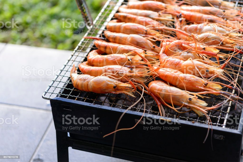 The shrimp grill on the stove stock photo