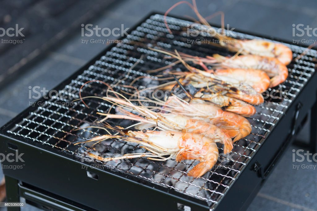 The shrimp grill on the stove , stock photo