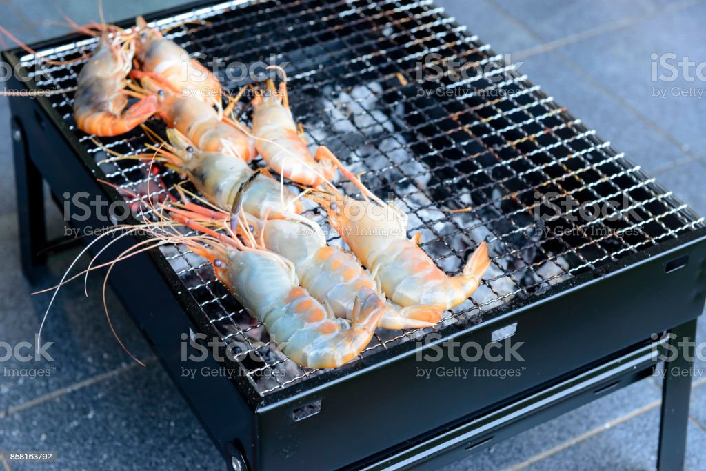 The shrimp grill on the stove ,seafood grill stock photo