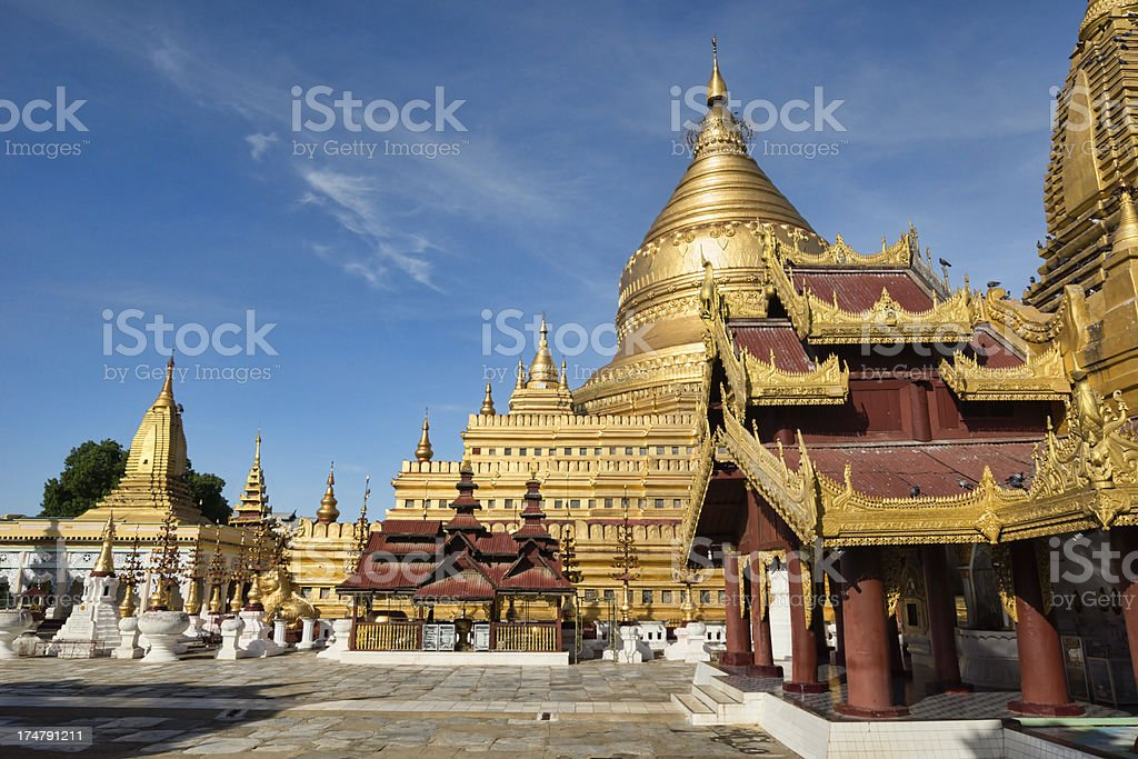 The Shwezigon pagoda in Bagan, Myanmar. stock photo