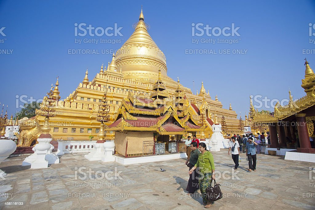The Shwezigon Pagoda In Bagan, Myanmar stock photo