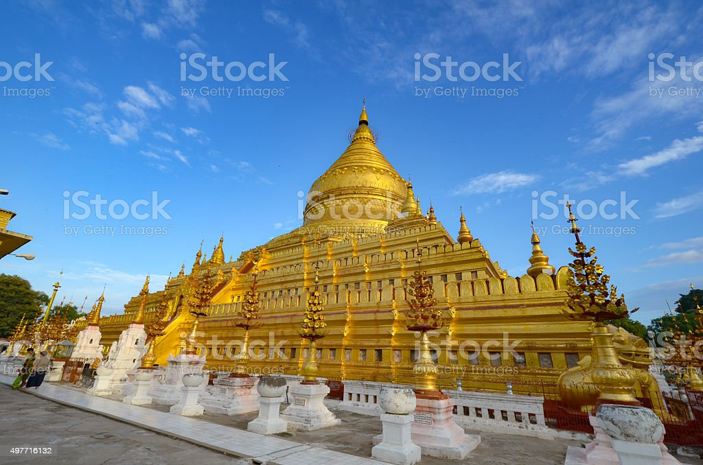 The Shwezigon Pagoda or Shwezigon Paya in Bagan, Myanmar. stock photo