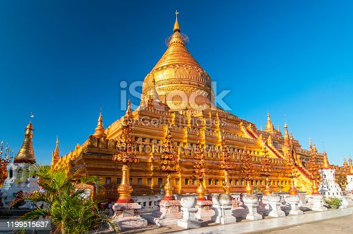The Shwezigon Pagoda, the famous chedi in Bagan, Myanmar.