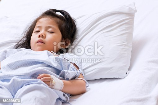 istock The Sick Cute Asian girl is recovering Sleep on white patient Bed in the hospital. with space for text. 860556870