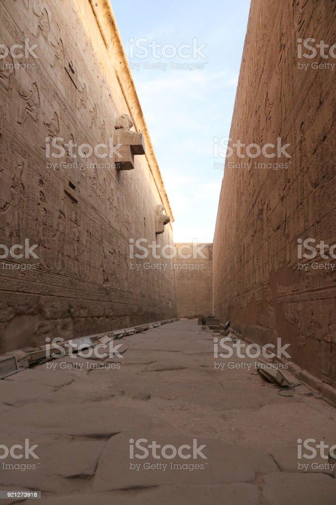 The side walls of Edfu temple stock photo