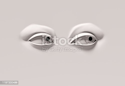 Two eyes on flat surface looking to their left side.