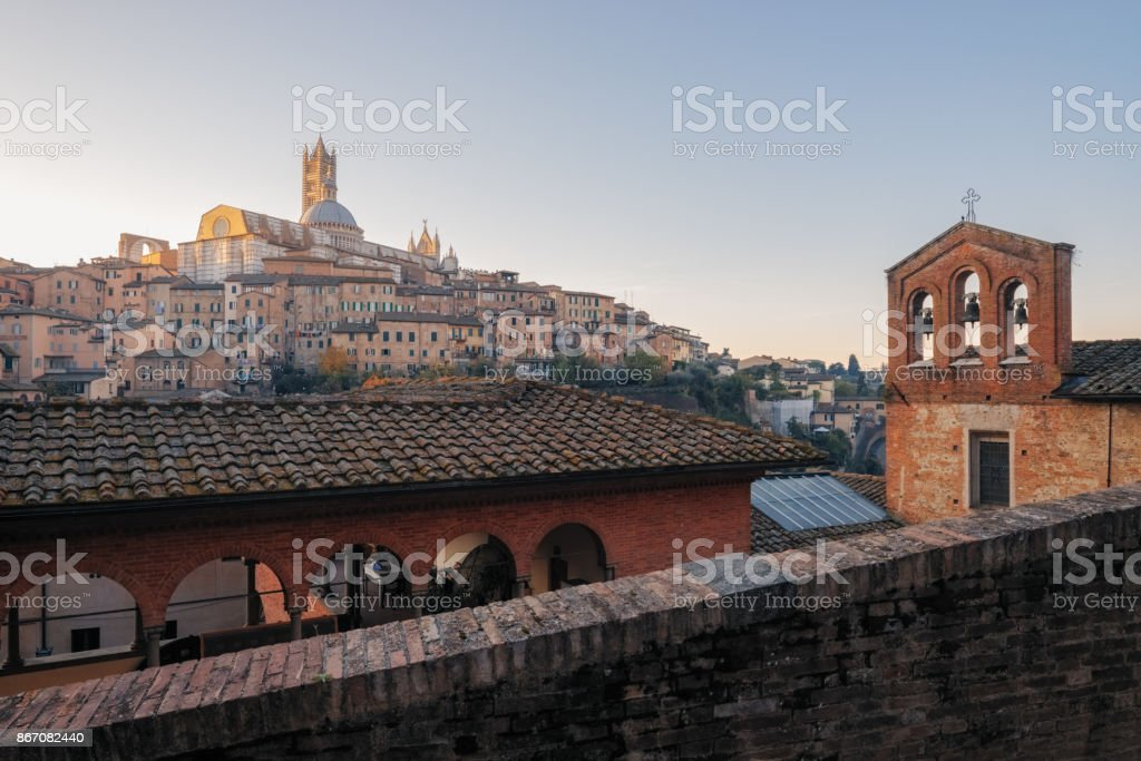 The Siena cityscape in southern Tuscany, Italy. stock photo