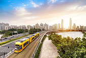 The sightseeing train is driving in the city,guangzhou,china