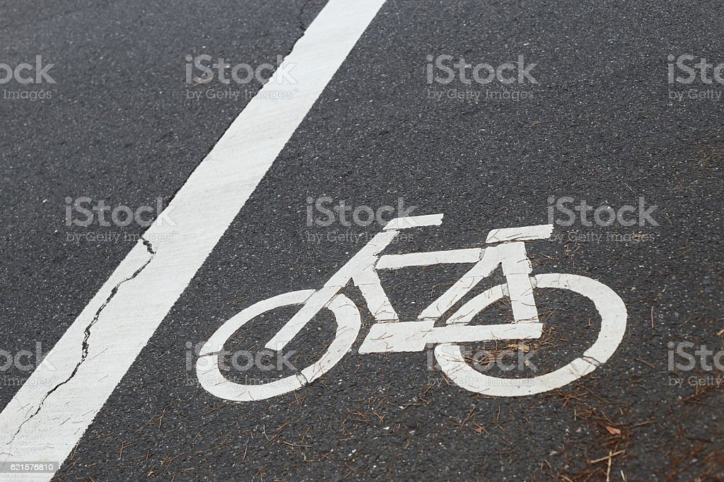 The sign of a bicycle on street. photo libre de droits